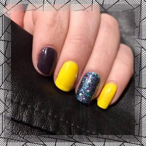 One Step Gel in sunflower and purple