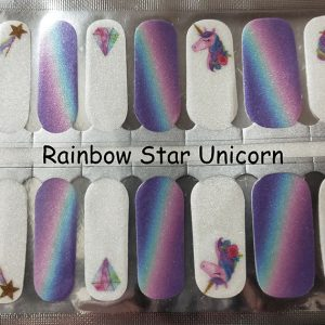 Rainbow Star Unicorn Nail Wraps