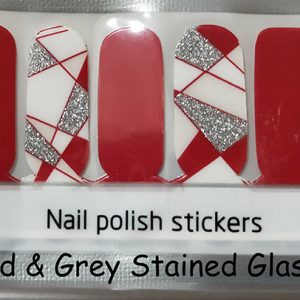 Red & Grey Stained Glass Nail Wraps