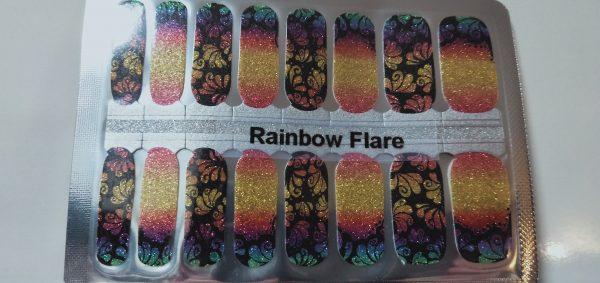 Rainbow flare nail wraps