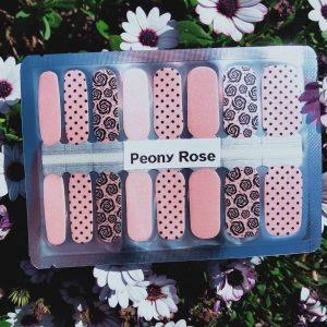 Peony rose nail wraps
