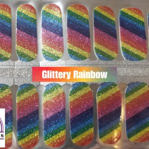 Glittery rainbow nail wraps