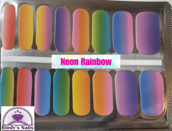 Neon rainbow nail wraps