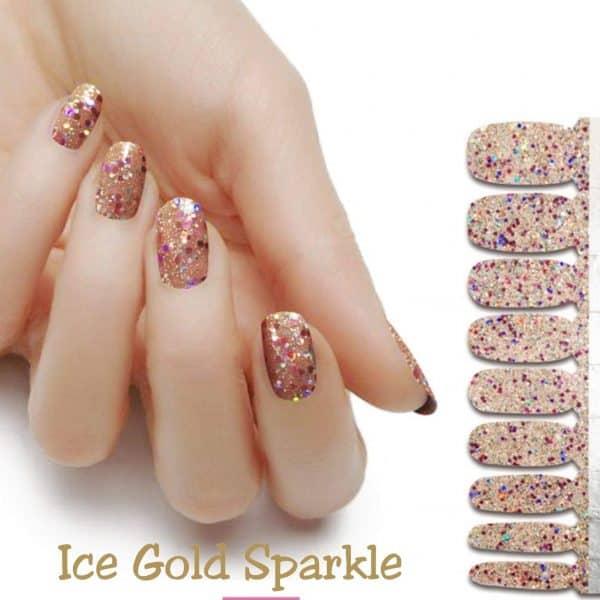 Ice gold sparkle nail wraps
