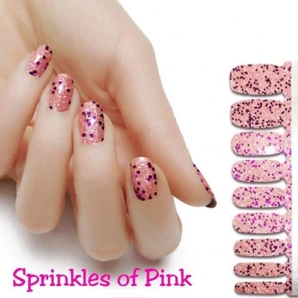 Sprinkles of pink nail wraps