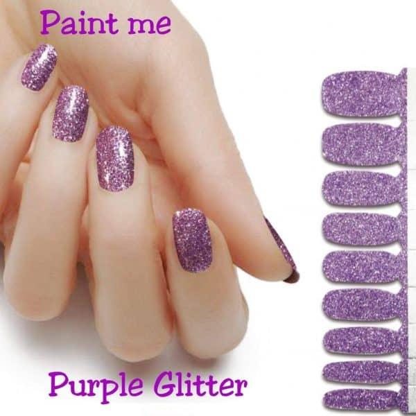 Paint me purple glitter nail wraps