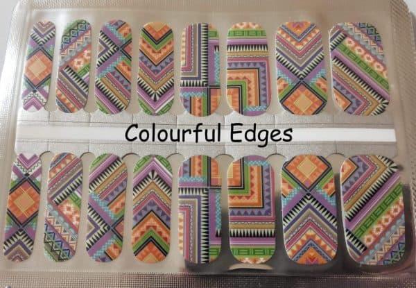 Colourful edges nail wraps