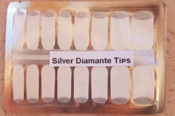 Silver diamanté's tips nail wraps