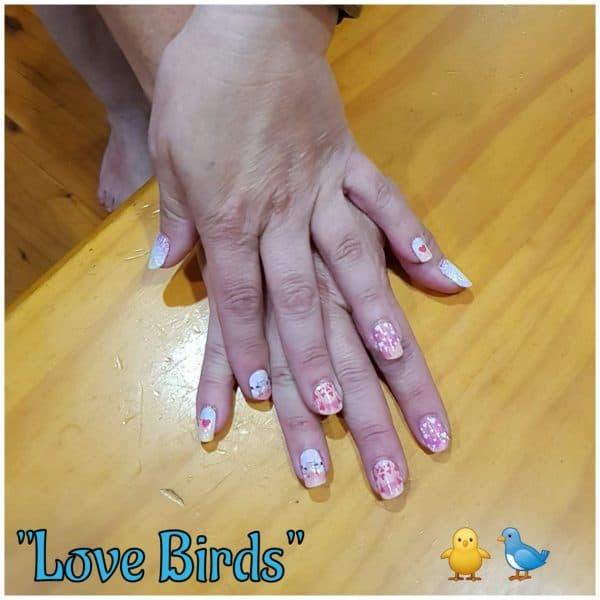 Love birds Nail wraps on fingernails