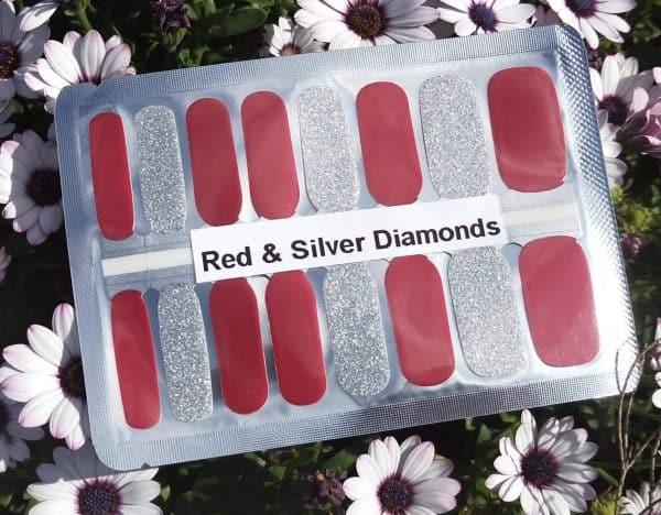 Bindy's-Nails-Wraps-Red & Silver Diamonds
