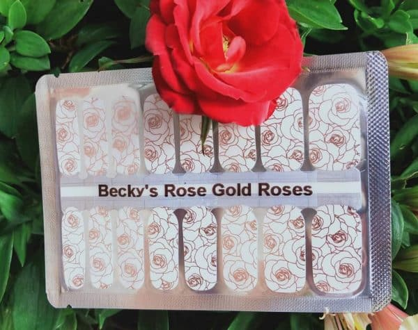 Bindys'Nails- Polish - Wraps- Beckys' Rose Gold Roses