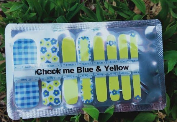 Bindy's Check Me Blue & Yellow Nail Polish Wrap