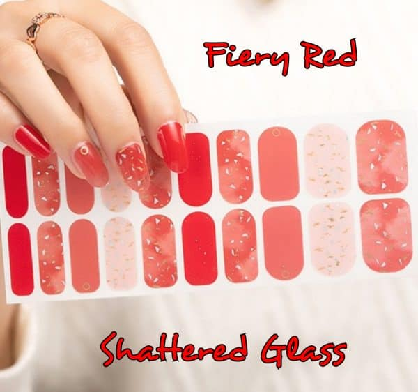 Bindy's Nails Fiery Red Shattered Glass