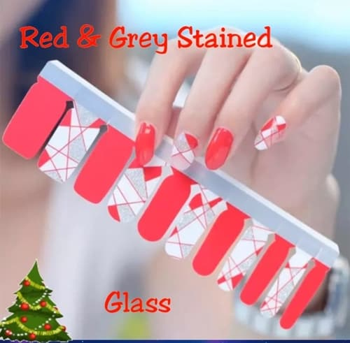 Bindy's Red & Grey Stained Glass Nail Polish Wrap