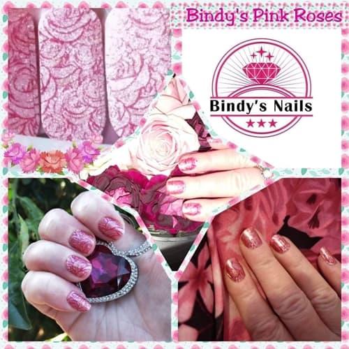 Bindy's Pink Roses Nail Polish Wrap