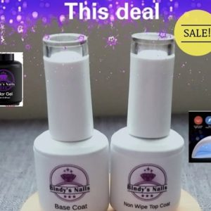 Bindy's Base & Top Coat & Three Step Gel with Led/Lamp Deal