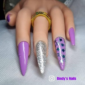 Bindy's Violet Rays with Let's Sparkle with Starry Eyed Nail Polish Wrap