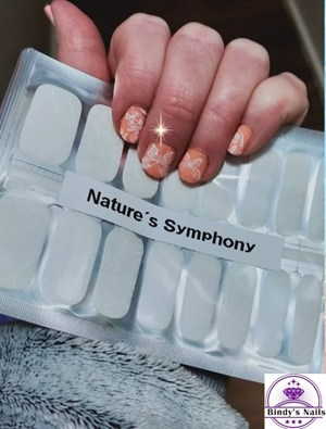 Bindy's Peaches & Cream One Step Gel with Nature's Symphony Nail Polish Wrap